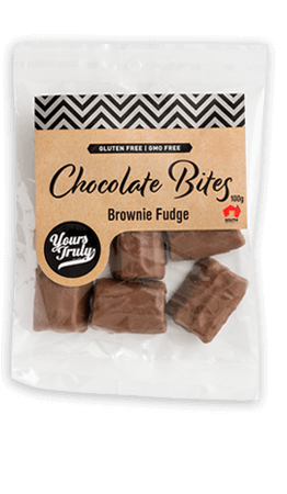 Yours Truly Chocolates - chocolates online. Image of a bag of Chocolate Bites - Brownie Fudge.